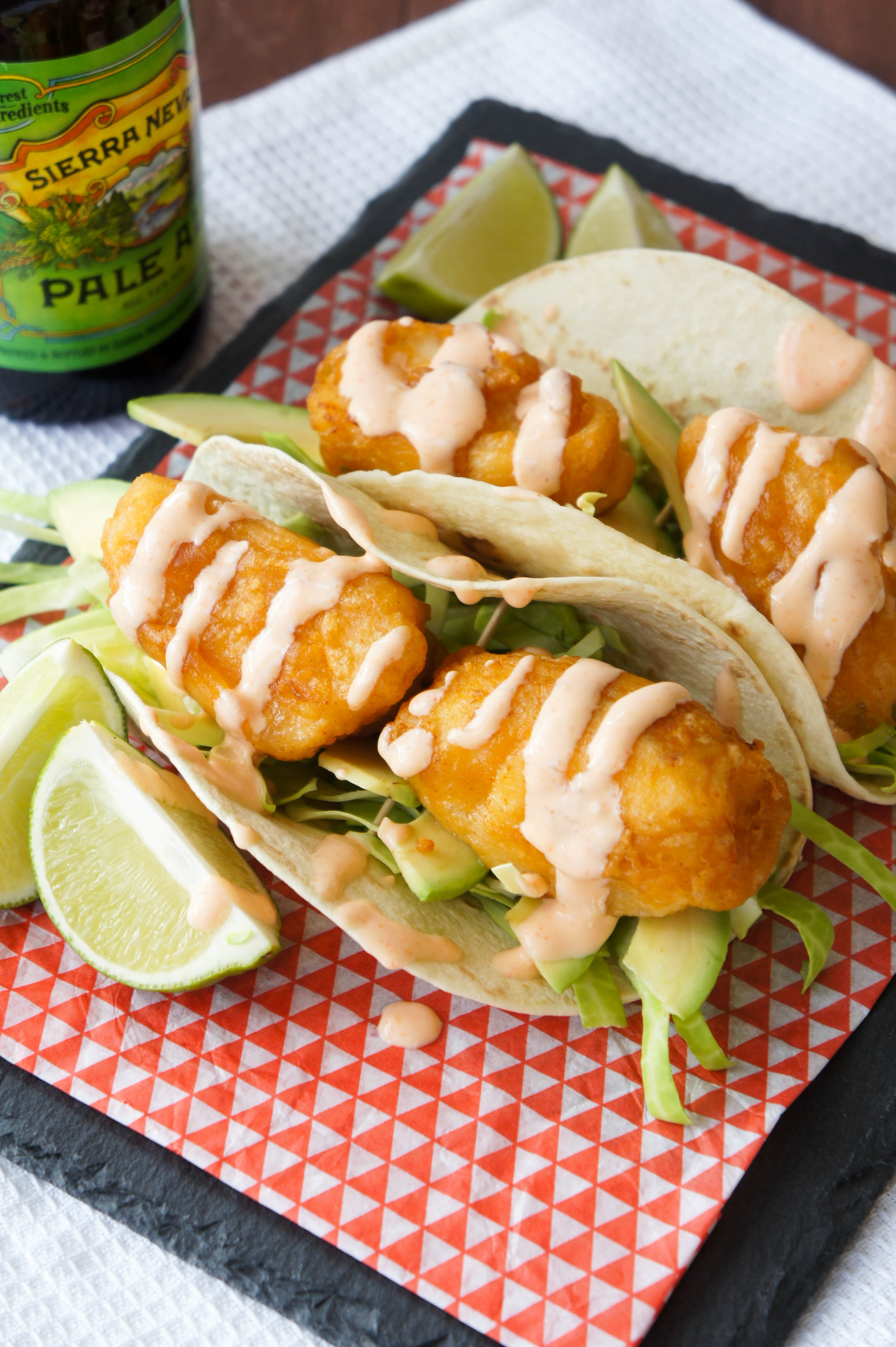 Beer battered fish tacos with chilli lime crema close for Fish taco batter