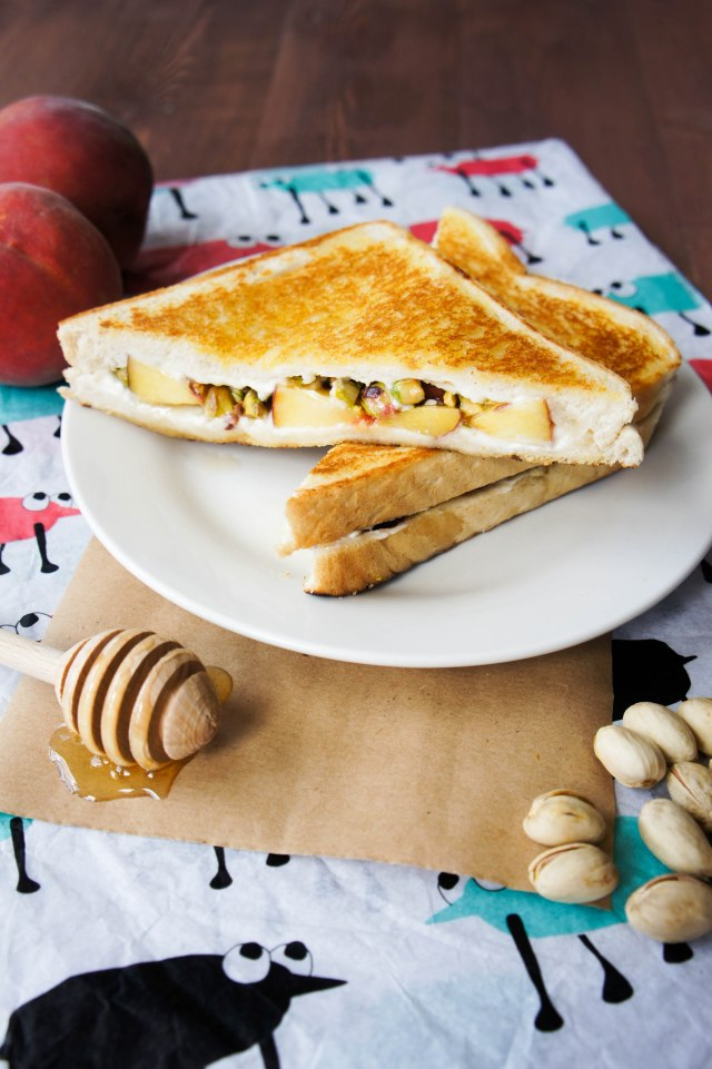 Peach, Pistachio & Cream Cheese Toasted Cheese Sandwich | Close Encounters of the Cooking Kind